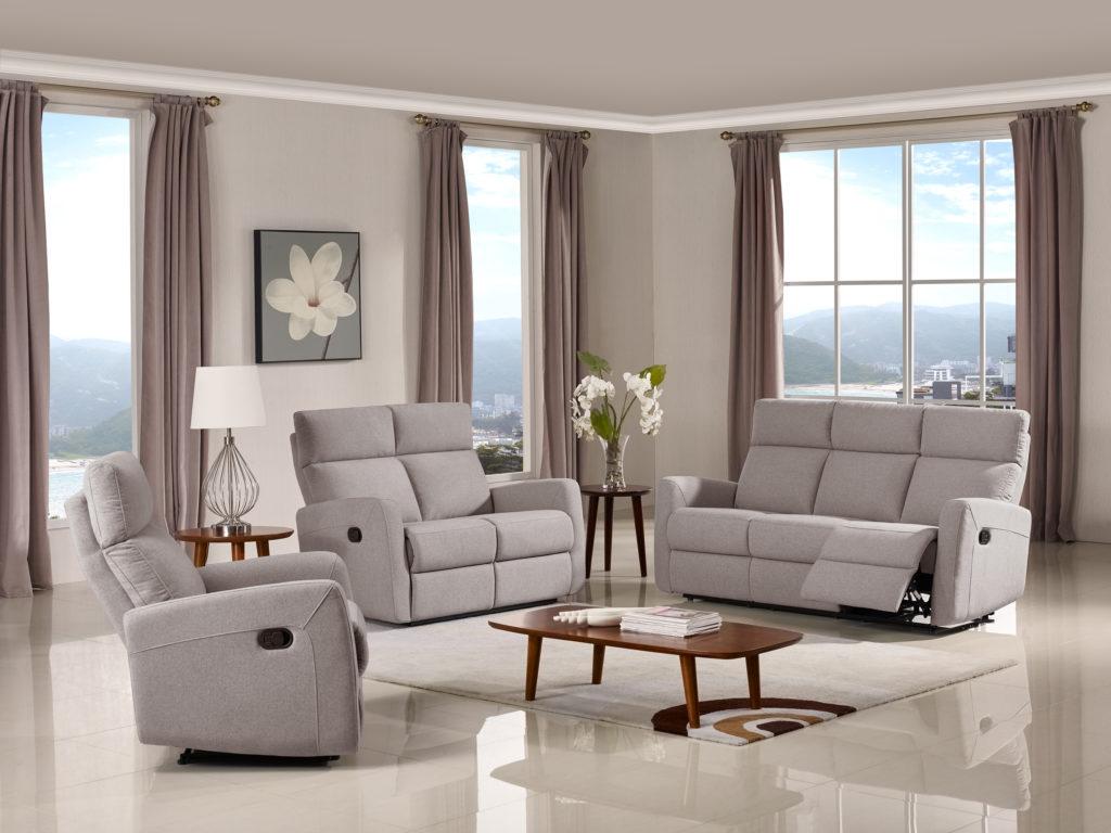 Victoria Reclining 3 Pc Sofa Set Fabric Code K30 Light