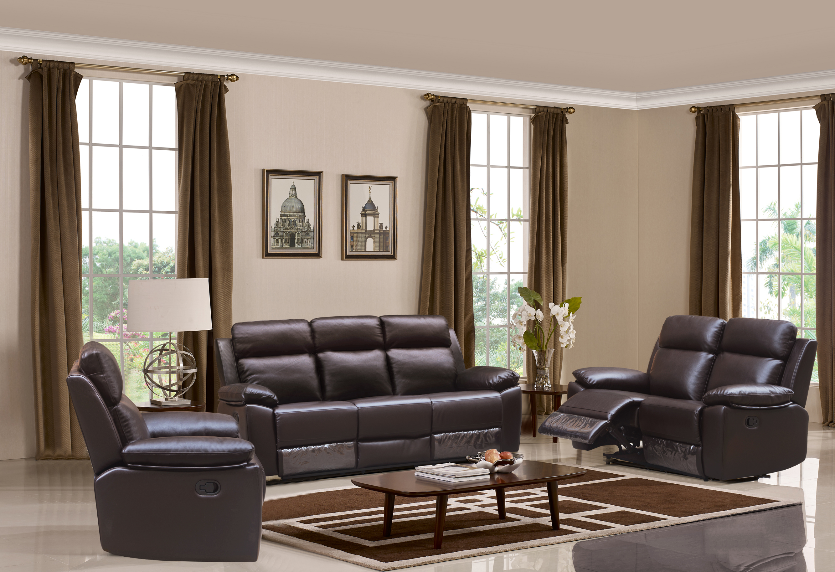 Leo Reclining 3-PC Sofa Set - Leather Air Code # G03 Brown