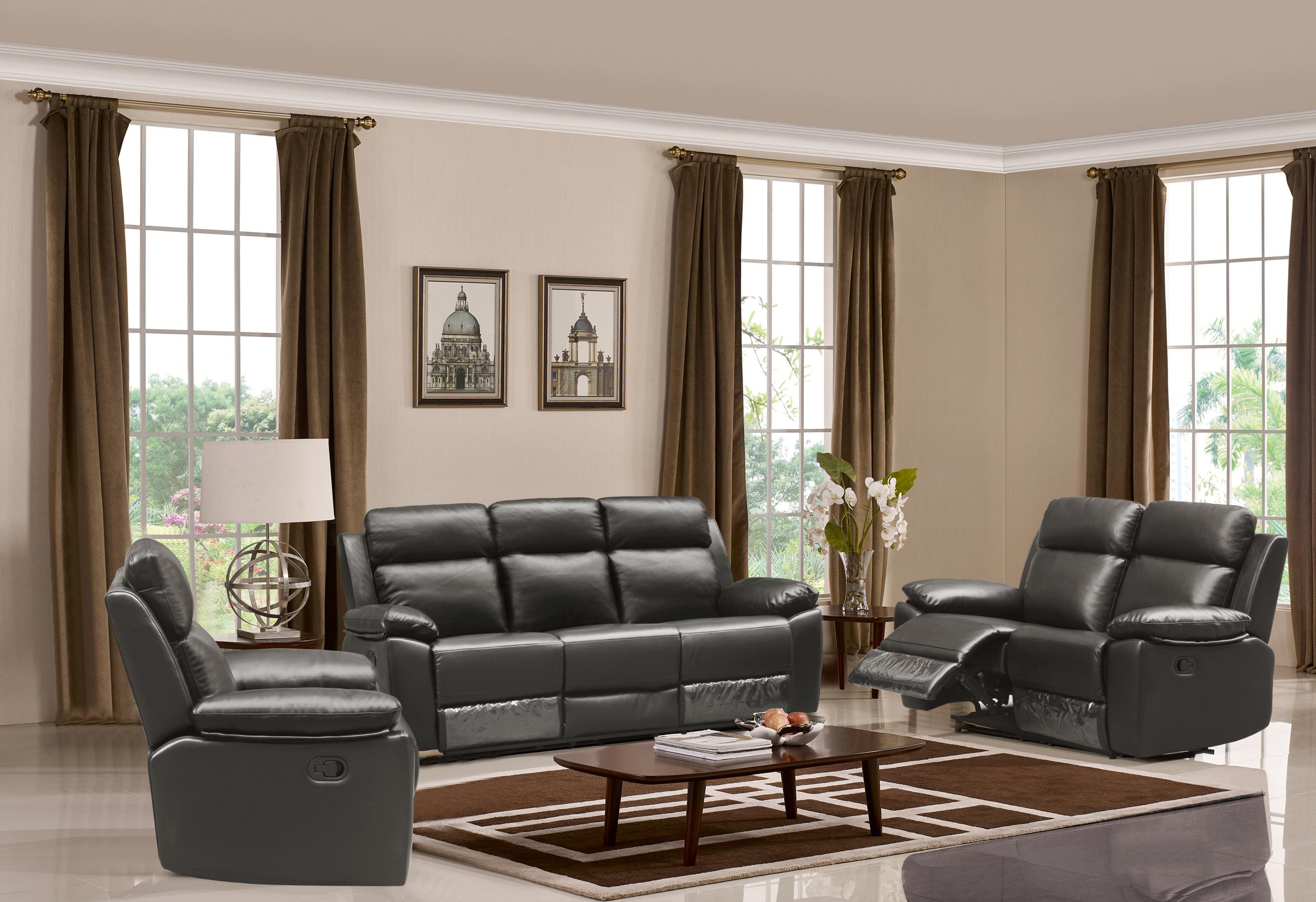 Leo Reclining 3 Pc Sofa Set Leather Air Code G12 Grey Husky