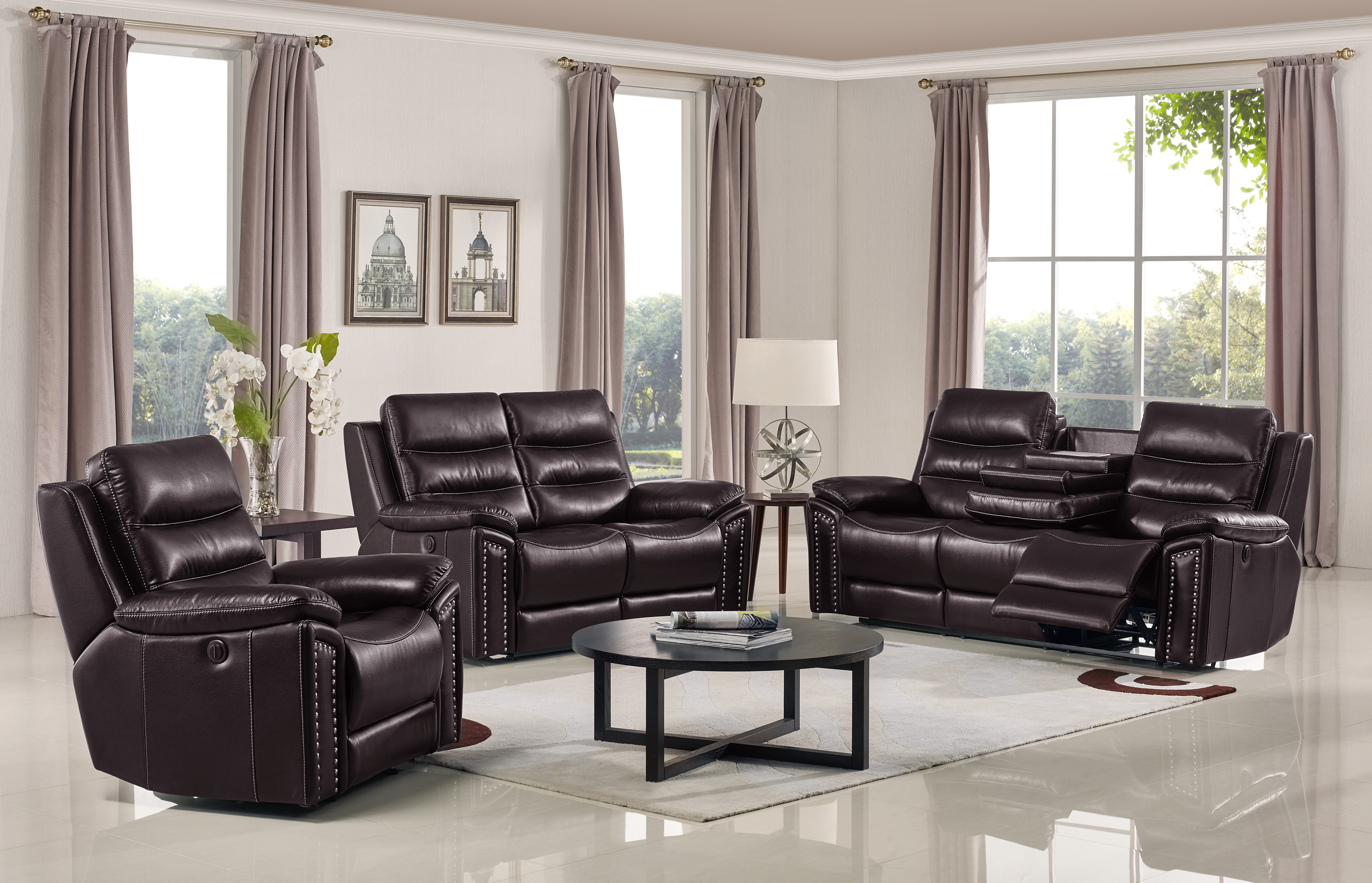 Jetson Reclining 3-PC Sofa Set - Leather Air Code # G03 Brown
