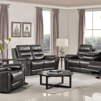 Leo Reclining 3-PC Sofa Set – Leather Air Code #  G12 Grey