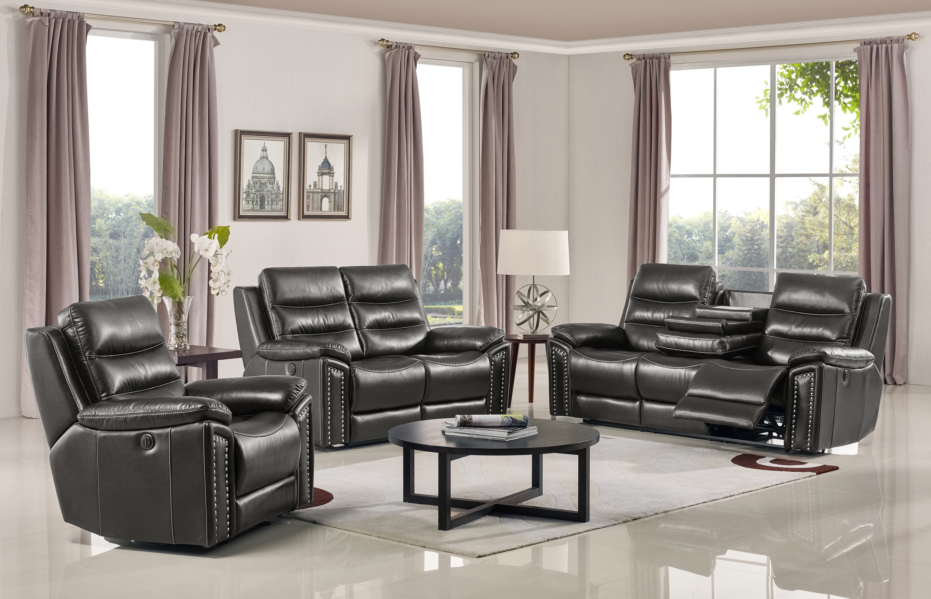 Jetson Power Reclining 3 Pc Sofa Set Leather Air Code G12 Grey