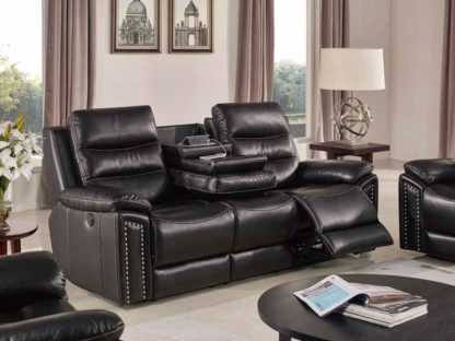 Jetson Recliner Sofa with drop down and USB console Blue Cool Gel memory foam seating HR050-2