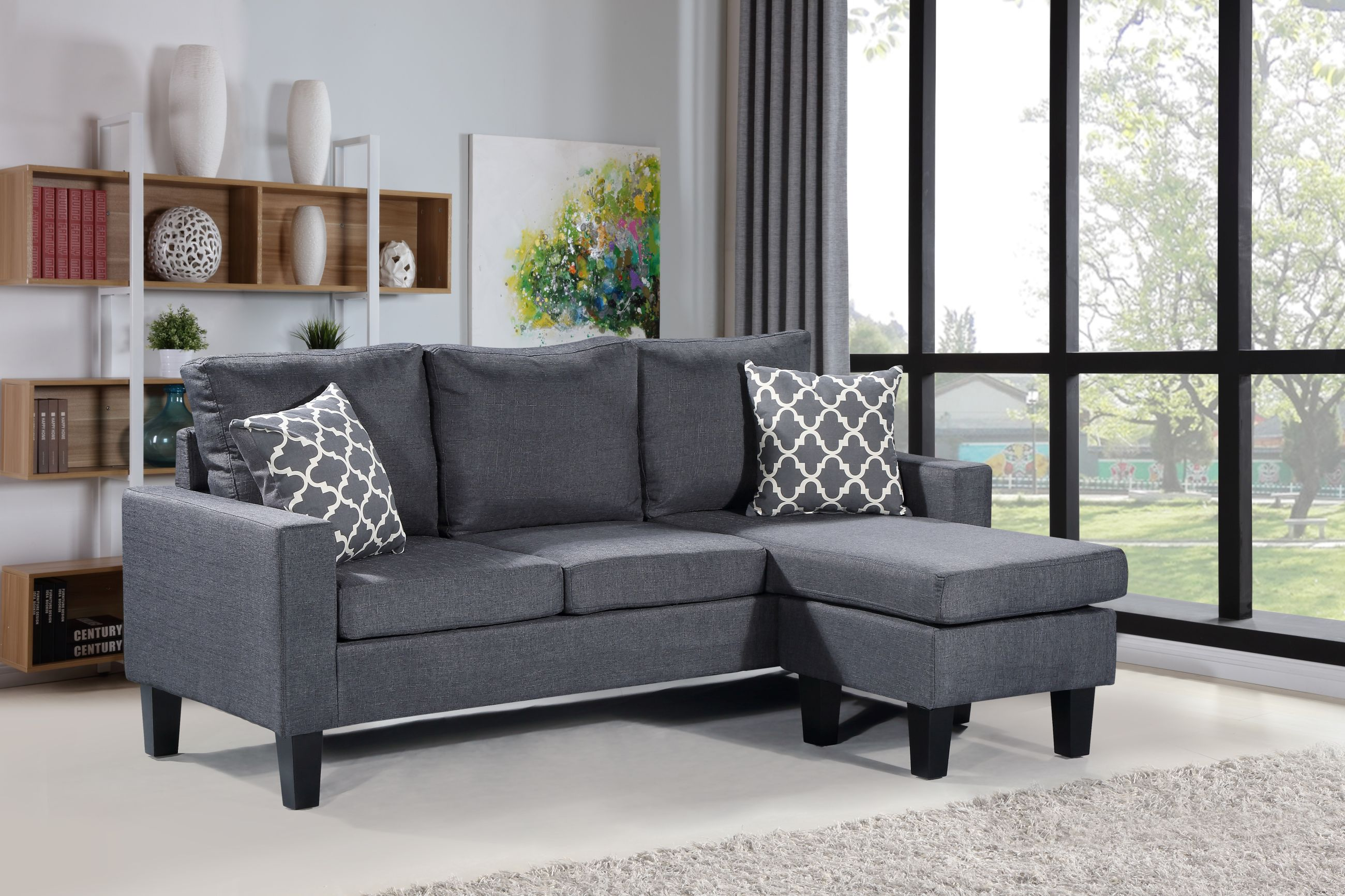 HS276 Husky Furniture BELLA Reverseable Sectional Sofa Gray
