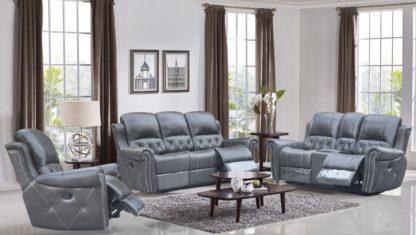 HR059 (G12) Husky Furniture Hunter Reclining Sofa Set Gray