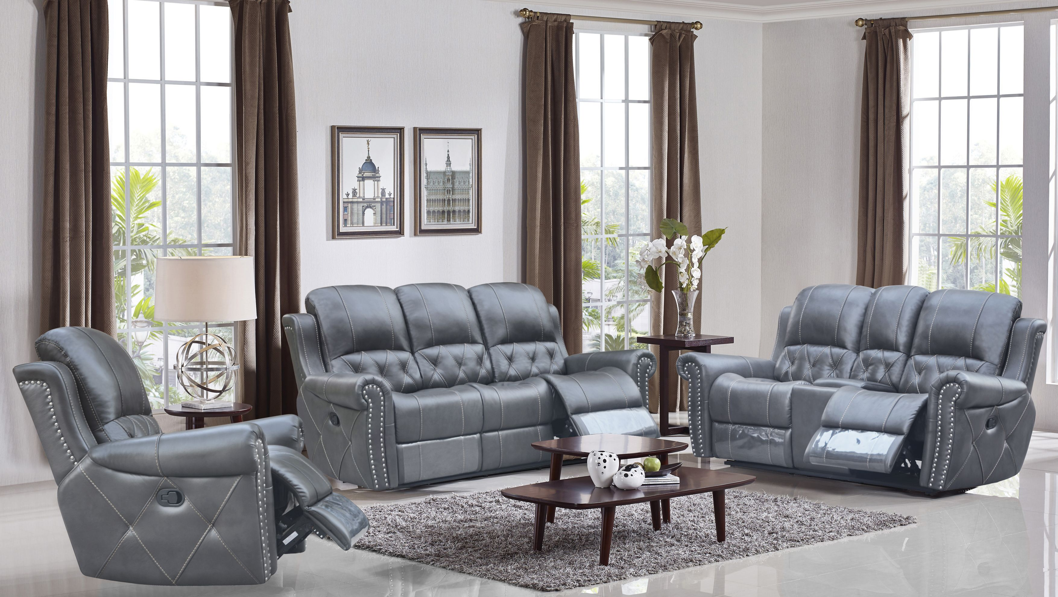 hunter reclining 3 pc sofa set leather air code g12 grey husky furniture and mattresses. Black Bedroom Furniture Sets. Home Design Ideas