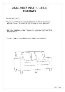 Hs280 2 3 Husky Furniture Zara Sofa Loveseat Gray Assembly