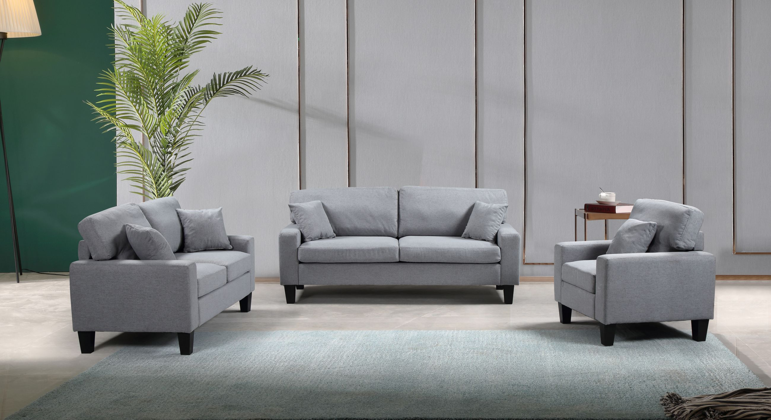 Zara 3-PC Sofa Set - Grey