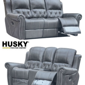 Hunter Reclining 2-PC Sofa and Loveseat Set – Leather Air Code #  G12 Gray