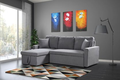 Zara Reversible Sectional Sofa 3.in.1 ( Sofa, Bed & Storage ) – Grey