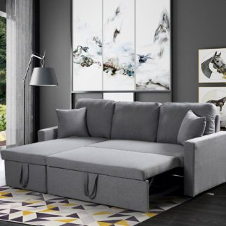 Zara Reversible Sectional Sofa 3.in.1 ( Sofa, Bed & Storage ) – Grey