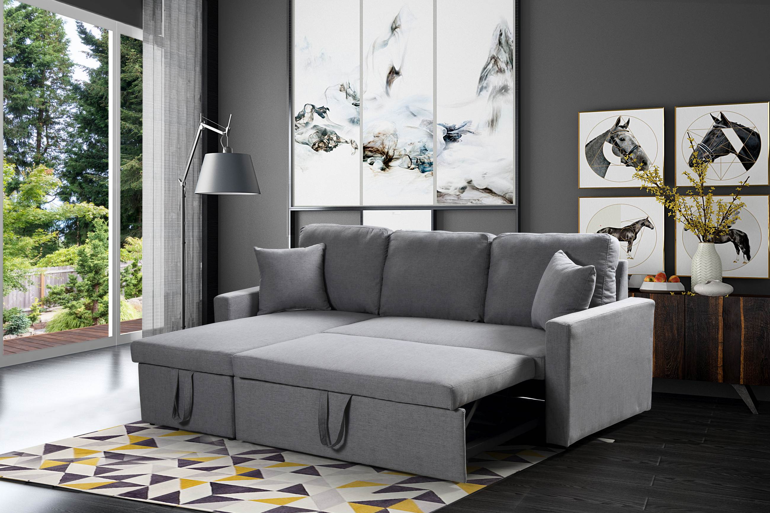 Zara Reversible Sectional Sofa 3 In 1 Bed Storage Grey
