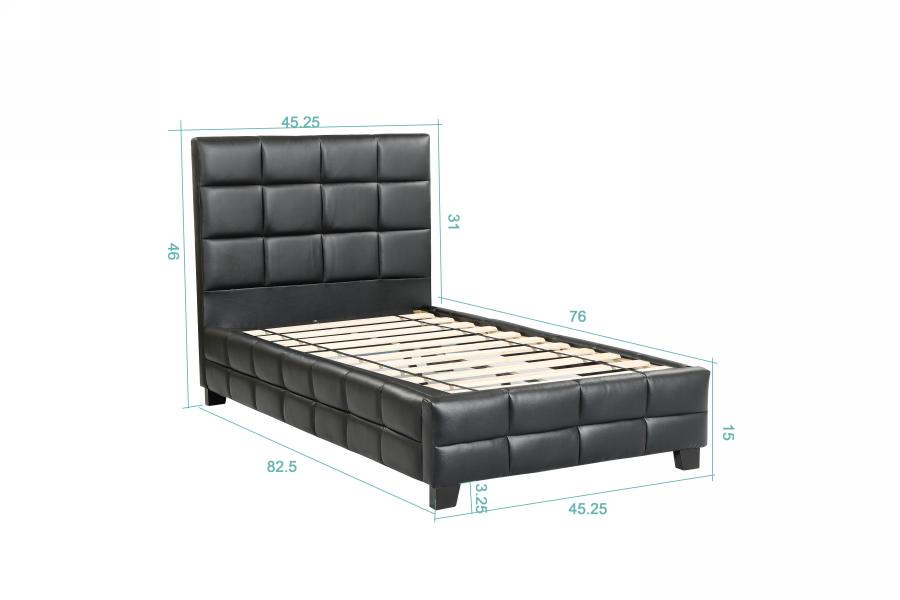 Amelia Upholstered Platform Bed Black Single Twin