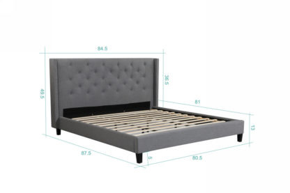 King Megan Bed Dimentions- 007-Husky-Furniture- Queen and King- Grey