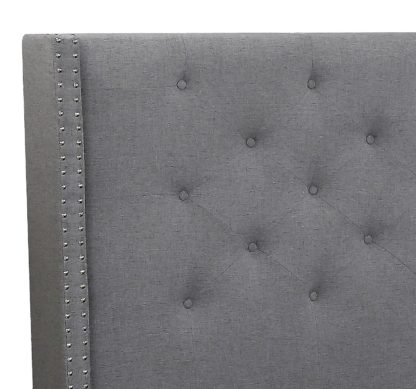 Queen Megan Bed- 007-Husky-Furniture- Queen and King- Grey-Headboard