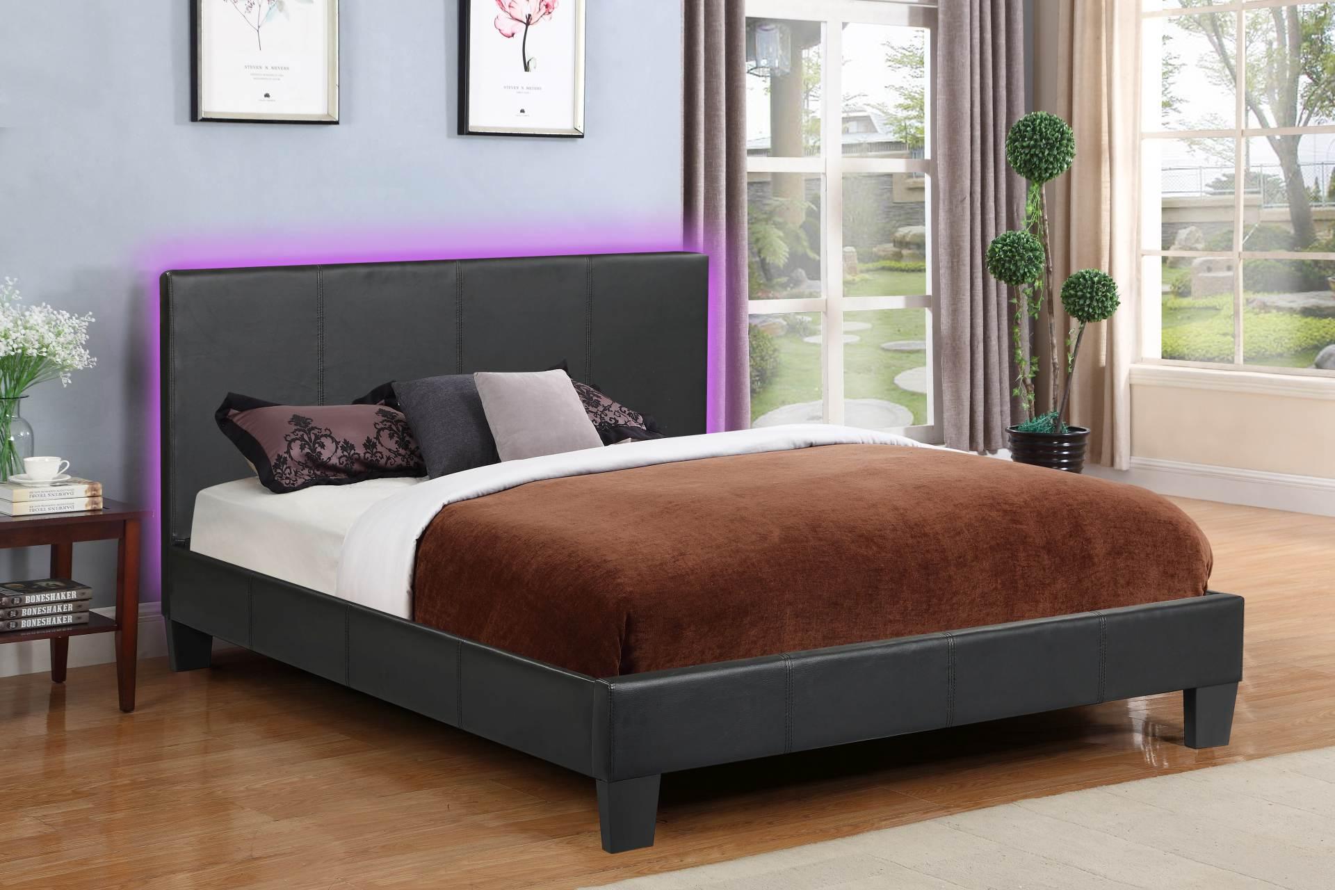 Value Upholstered Platform Bed Black Double Full