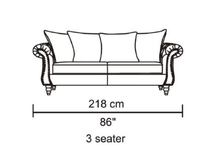 HD1769 -Tessa- Sand-K06.Fabric .Husky Designer Furniture.Sofa.Dimentions