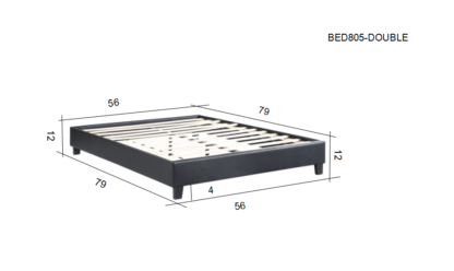 HB805-Paragon - Double Dimentions Platform Bed - Husky-Furniture- Black