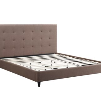 HB806-Hazel Platform Bed - King-Husky-Furniture- Brown Fabric-1