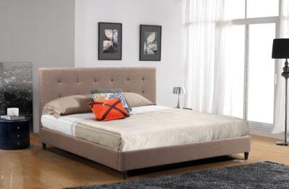HB806-Hazel Platform Bed - King-Husky-Furniture- Brown Fabric