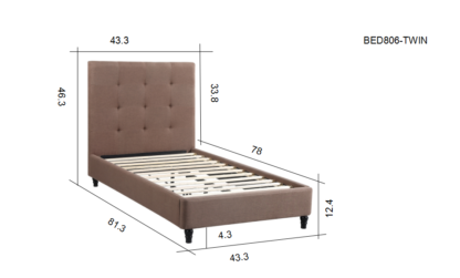 HB806-Hazel - Twin Dimensions Platform Bed - Husky-Furniture- Brown Fabric
