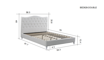 HB828-Lily - Double Dimensions Platform Bed - Husky-Furniture- White