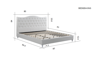 HB828-Lily - King Dimensions Platform Bed - Husky-Furniture- White
