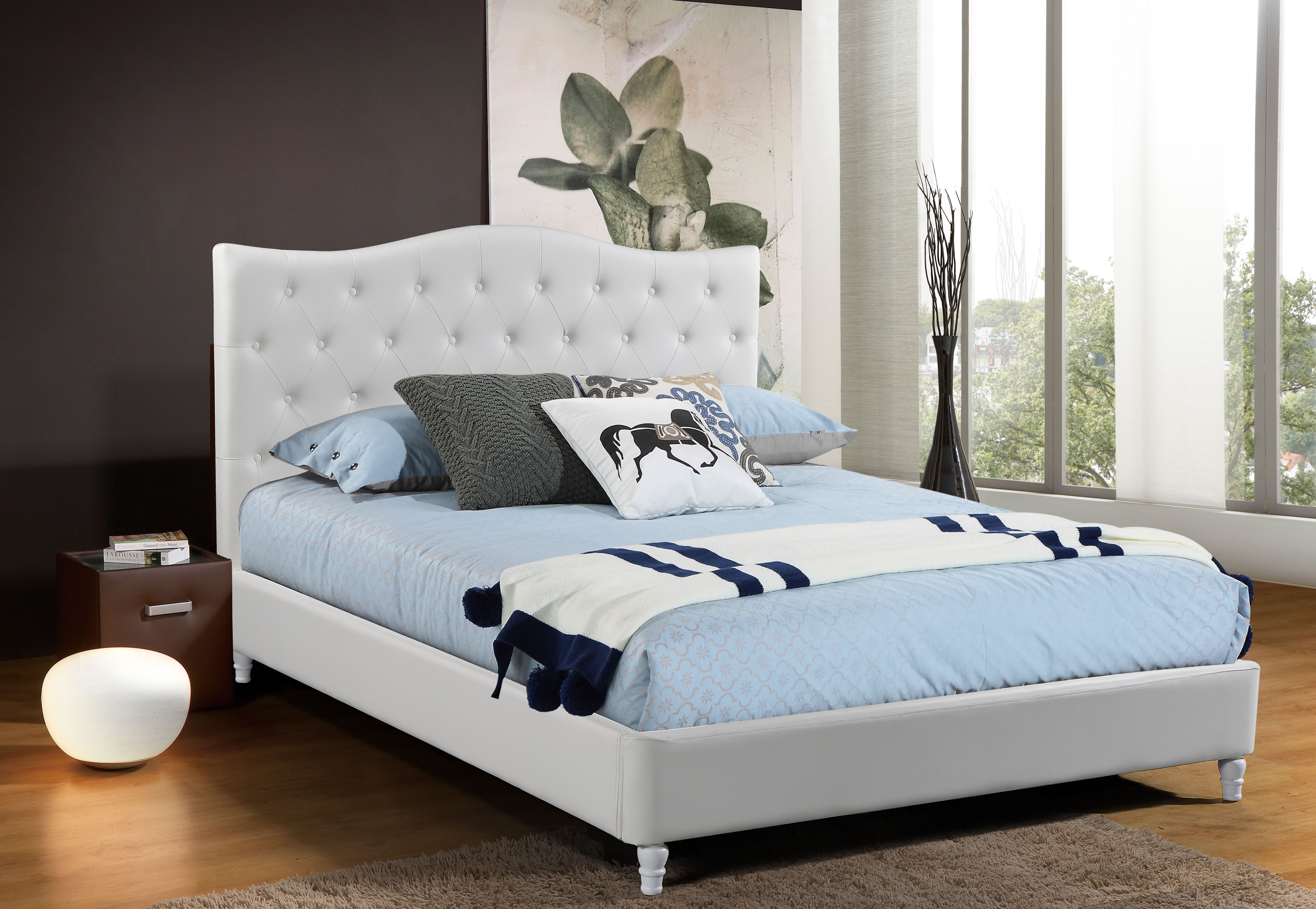 Husky lily platform bed queen white free shipping - White queen platform bedroom set ...