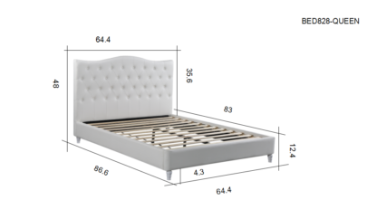 Lily – Upholstered Platform Bed, White – Queen