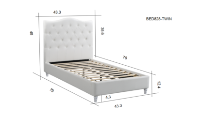 HB828-Lily - Twin Dimensions Platform Bed - Husky-Furniture- White