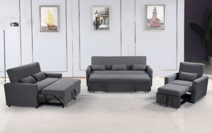 HS1009- Charcoal - Husky Furniture Transformer - convertible Sofa Bed - 3PC set