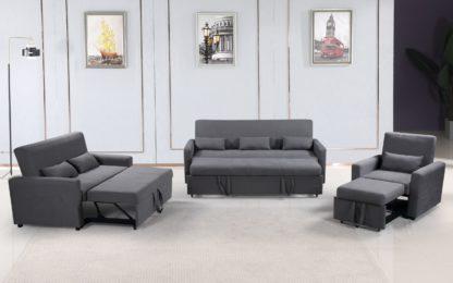 HS1009- Charcoal - Husky Furniture Transformer - convertible Sofa Bed - 3PC set