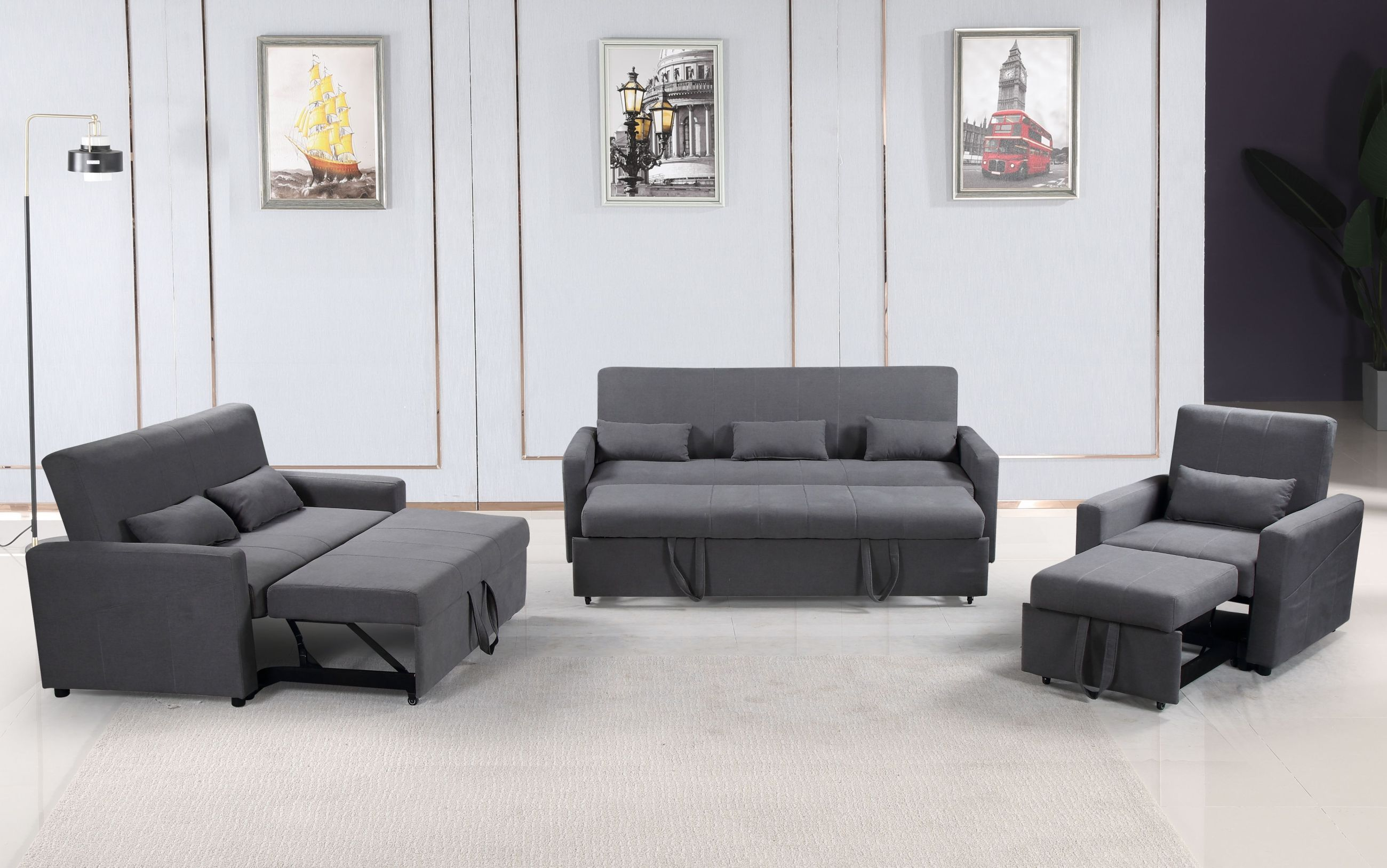 Excellent Transformer 3 Pc Convertible Sofa Bed Set Grey Caraccident5 Cool Chair Designs And Ideas Caraccident5Info
