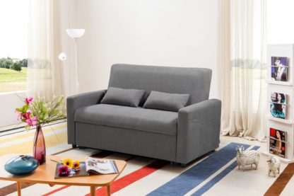 HS1009- Charcoal - Husky Furniture Transformer - convertible Sofa Bed - Loveseat