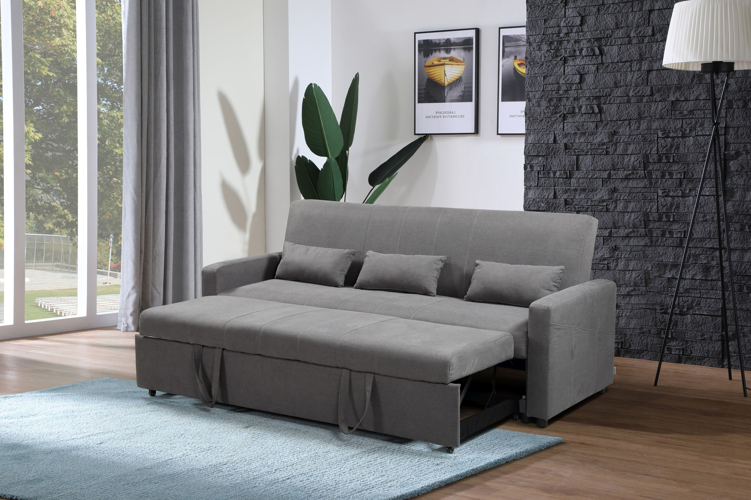 transformer 3 pc convertible sofa bed set grey copy