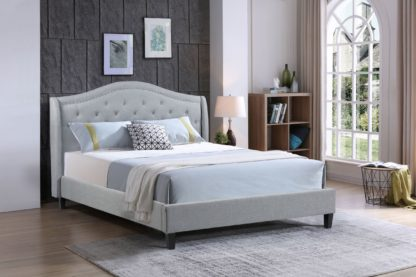 Double-Twilight Bed-013-Husky Furniture -Double Platform bed -Grey