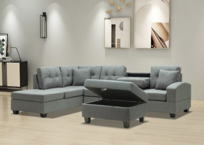 HS2300-Husky Furniture -Emma - Reversible Sectional -Sofa with Storage ottoman- Gray LH